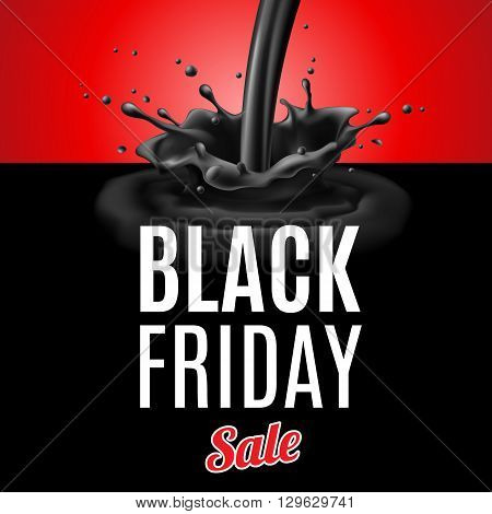 Black Friday discounts. Illustration of plum black liquid pouring with splashes