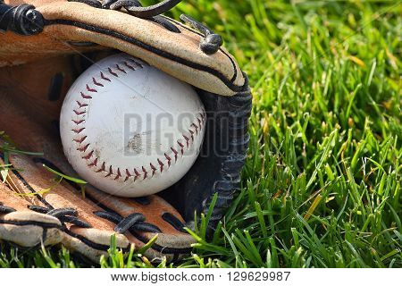 White softball in worn leather sports glove on grass.
