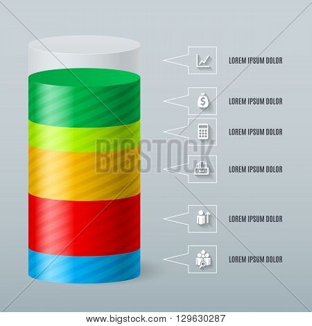 Infographics as a split color cylinder. Schedule Business Report