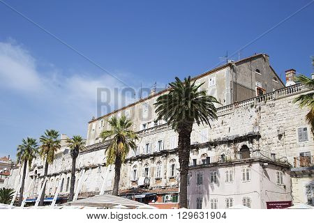 SPLIT, CROATIA - SEPTEMBER 18, 2015: Riva (sea promenade) on a summer day in Split Croatia. Split is popular touristic coastal destination in Croatia.