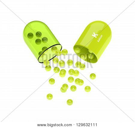 Kalium Capsule With Granules Isolated Over White