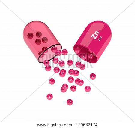 Zinc Capsule With Granules Isolated Over White