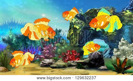 Goldfish in a Fish tank. Digital painting full color illustration.