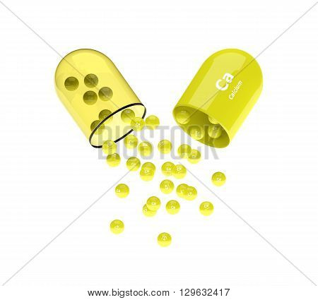 Calcium Capsule With Granules Isolated Over White