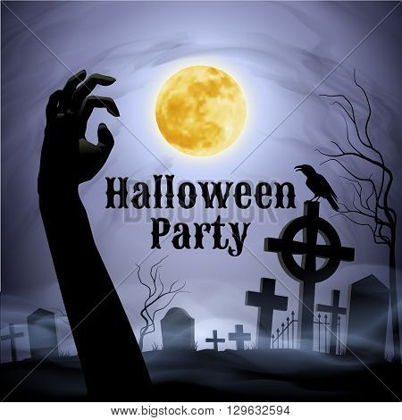 Spooky graveyard on the Halloween Night with evil raven on a celtic cross under full Moon with zombie hand