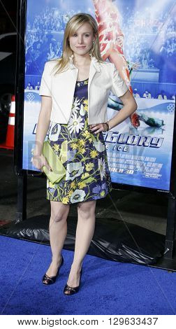 Kristen Bell at the Los Angeles premiere of 'Blades of Glory' held at the Mann's Chinese Theater in Hollywood, USA on March 28, 2007.