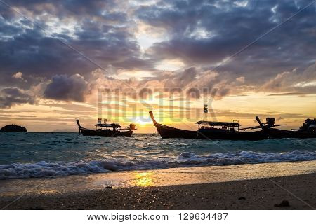 Sunrise At Ocean With Fishery Boat
