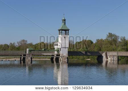 historical dam on the lake in augsburg