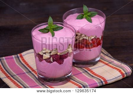 Strawberry and raspberry smoothie with cream cheese close up