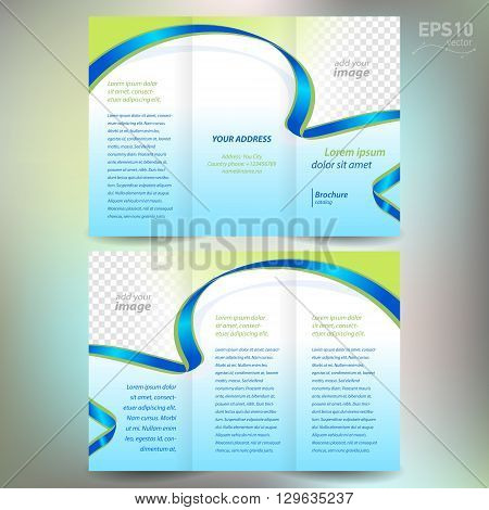 brochure folder leaflet ribbon element band wave color green line blue background block for images