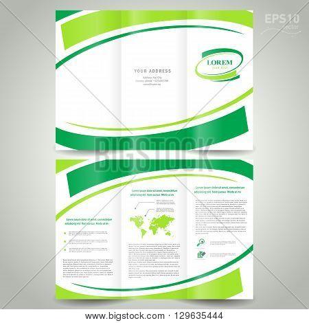 brochure design template folder leaflet green line element white background