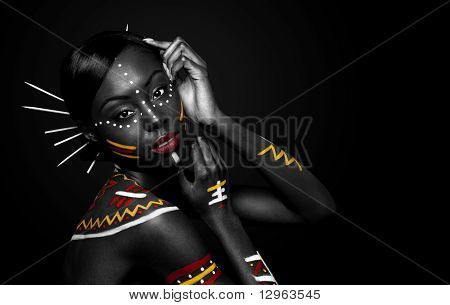 Tribal Beauty Woman With Makeup