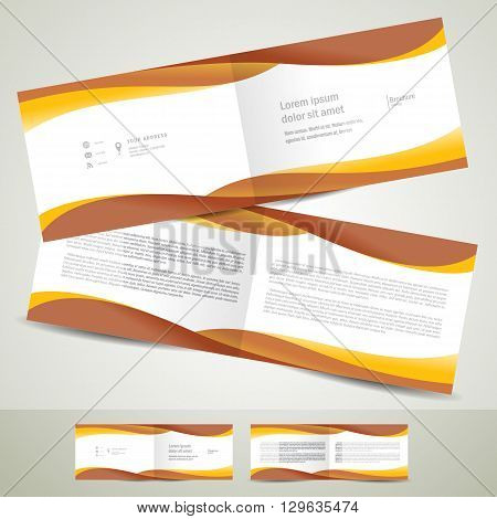 brochure design template booklet brown yellow curve line wave white background