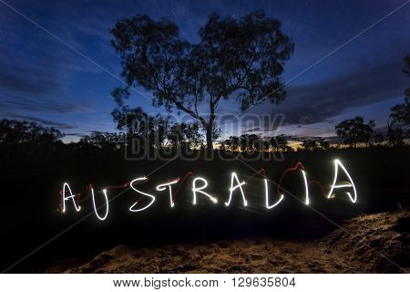 Light painting of the word Australia shot in the Australian outback.