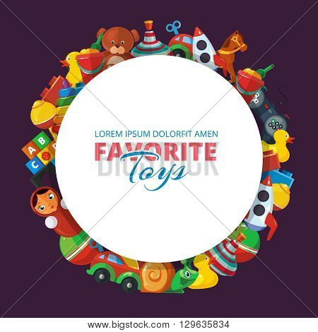 Toys icons for kids isolate on dark background. Toys vector illustrations pack. Cartoon toys set in circle shape with place for your text.