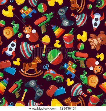 Toys seamless pattern for kids isolate on dark background. Toys vector illustrations pack. Cartoon toys pattern