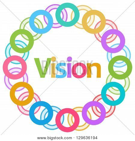Vision text written over colorful circular background.