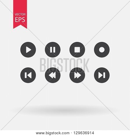 Player navigation icons. Vector set player buttons. Play, stop, rewind, forward, pause, record black symbols, isolated on white background.