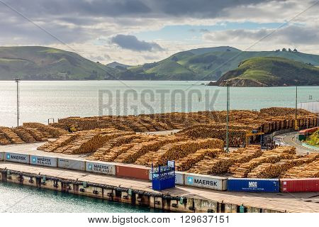 Port Chalmers New Zealand - November 15 2014: Timber is ready for shipping at a dock Port Chalmers Dunedin Otago region South Island New Zealand.