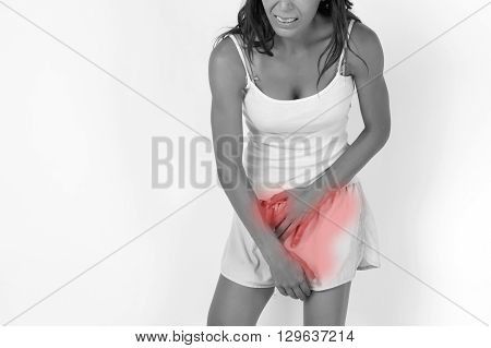 Woman Having A Stomachache / Food Poisoning / Stomach Problems / Womb Problems / Menstruation Pain (