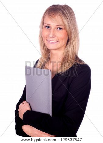 Handsome blonde smiling businesswoman with file in her hands
