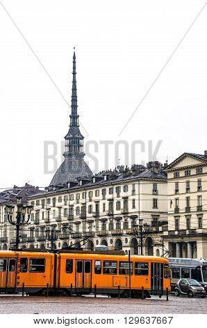 turin tram mole antonelliana piazza vittorio veneto - piedmont - italy