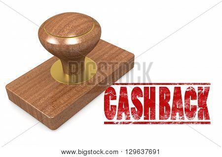 Cash back wooded seal stamp image, 3d rendering