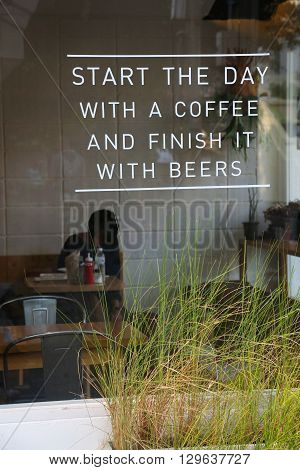 Coffee shop -View  from the street -