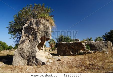 Ruins in archaeological park Tombs of the Kings ,Paphos,Cyprus, famous landmark, unesco heritage