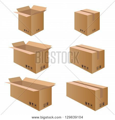 Collection box packaging. Packaging Box for Paper isolated on white background.