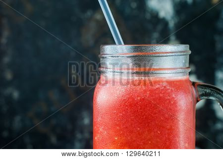 Fresh Water Melon Juice Smoothie Glass Jar Red Fruits Vitamins Healthy Concept on Dark Shabby Background