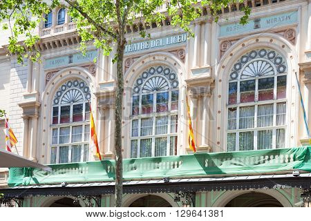 Barcelona Spain - May 13 2016: The Gran Teatre del Liceu popularly known simply as the Liceu opera house is located on the Ramblas of Barcelona.
