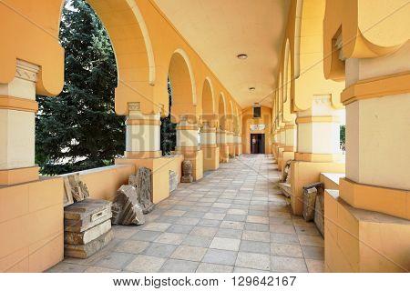 ALBA IULIA, ROMANIA - AUGUST 11, 2015: gallery of pilgrimage in the Coronation Cathedral of Alba Iulia Citadel gallery of pilgrimage in the Coronation Cathedral of Alba Iulia Citadel, Romania