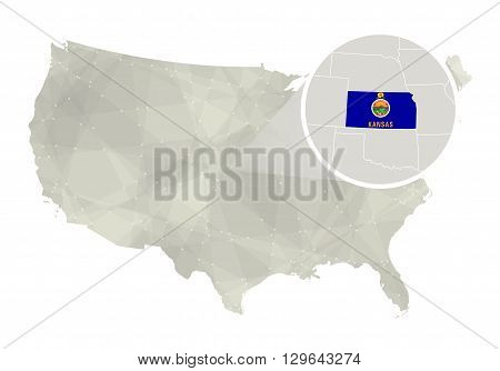 Polygonal Abstract Usa Map With Magnified Kansas State.