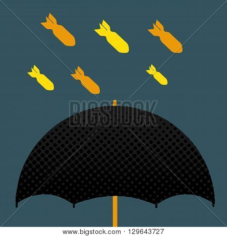 Black umbrella and yellow missile , protect war idea