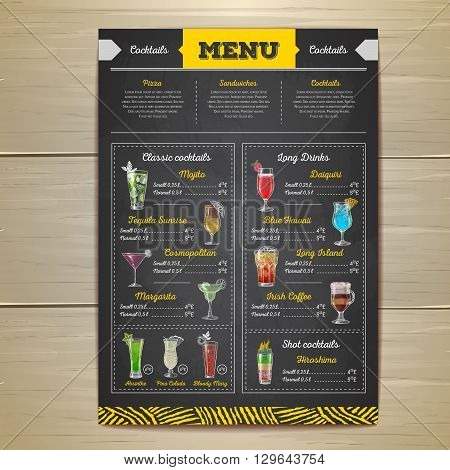 Vintage chalk drawing cocktail menu design. Corporate identity