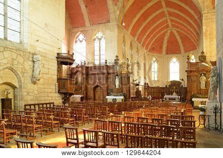 Ecouis France - july 22 2015 : the interior of the collegiate church built between 1310 and 1313