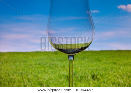Conceptually Lighted Wine Glasson The Background Of The Sky And Green Grass