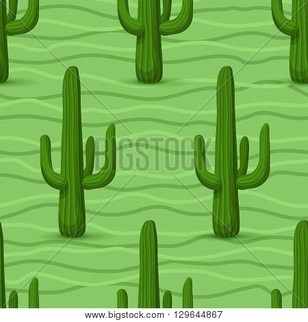 Cactus seamless pattern. Vector illustration with cactus, green wave, light green background