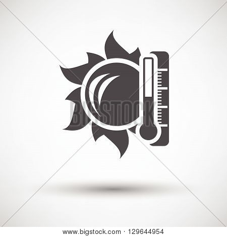 Sun And Thermometer With High Temperature Icon