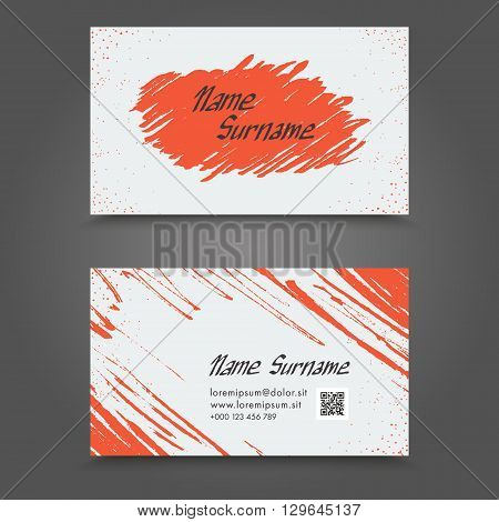 Visit Card With Hand Drawn Abstract Elements. Hand Drawn Business Card Template Design.