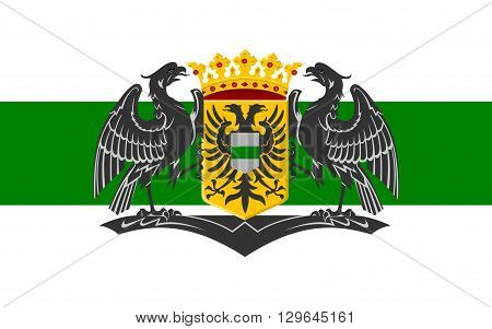 Flag of Groningen is the main municipality as well as the capital city of the eponymous province in the Netherlands