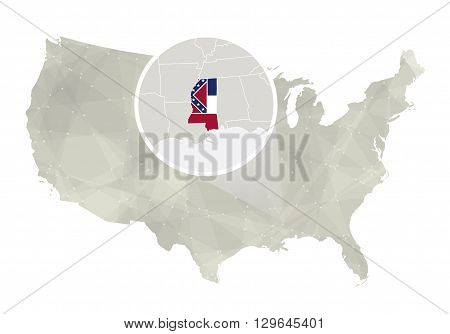 Polygonal Abstract Usa Map With Magnified Mississippi State.