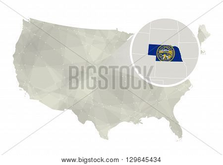 Polygonal Abstract Usa Map With Magnified Nebraska State.