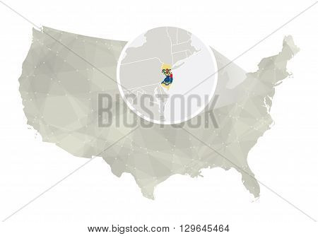 Polygonal Abstract Usa Map With Magnified New Jersey State.