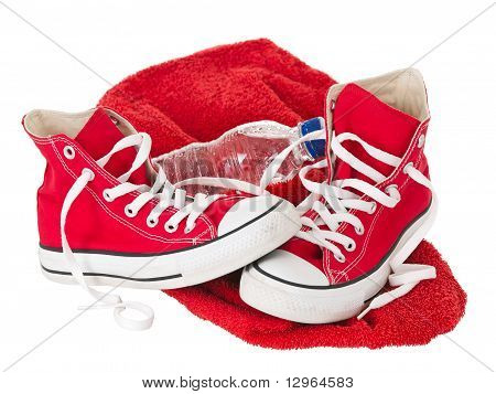 Vintage Red Shoes With Towel