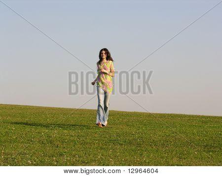 run girl grass