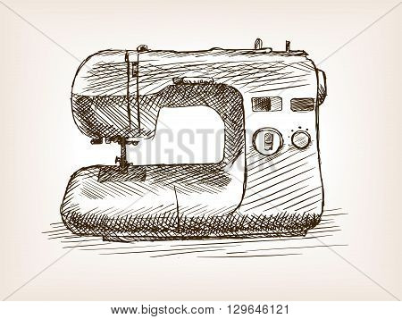 Sewing machine sketch style vector illustration. Old engraving imitation.