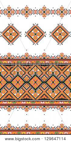 Embroidered good like old handmade cross-stitch ethnic Ukraine pattern. Traditional Ukrainian folk art pattern - vyshyvanka called