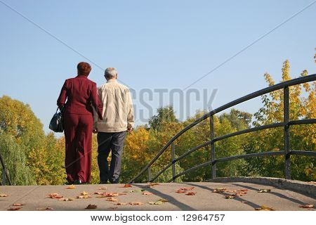 behind couple on autumn bridge